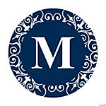 Personalized Navy Blue Monogram Wedding Favor Stickers