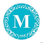 Personalized Turquoise Monogram Favor Stickers