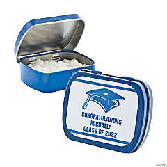 Personalized Blue Graduation Mint Tins