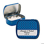 Personalized Blue Patterned Wedding Tins With Mints