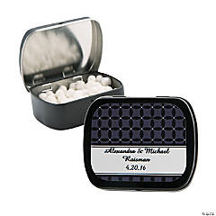 Personalized Black Patterned Wedding Tins With Mints