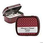 Personalized Burgundy Patterned Wedding Tins With Mints