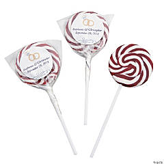 Personalized Burgundy Wedding Ring Swirl Pops