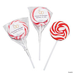Personalized Red Wedding Ring Swirl Pops