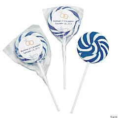 Personalized Blue Wedding Ring Swirl Pops