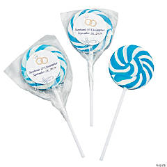 Personalized Light Blue Wedding Ring Swirl Pops