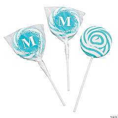 Personalized Turquoise Monogram Swirl Pops