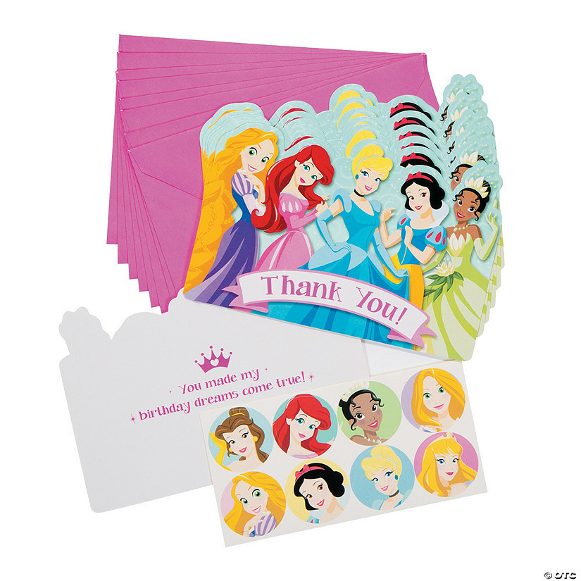 Disney Princess 1st Birthday Thank You Cards With Seals Discontinued