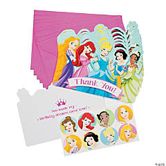 "Disney Princess 1st Birthday ""Thank You"" Cards With Seals"