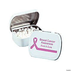 Personalized Pink Ribbon Mint Tins