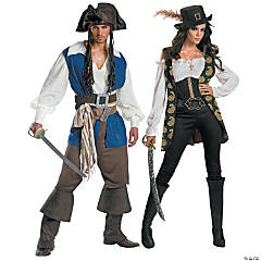 Pirates Of The Caribbean Captain Jack Sparrow & Angelica Couples Costumes