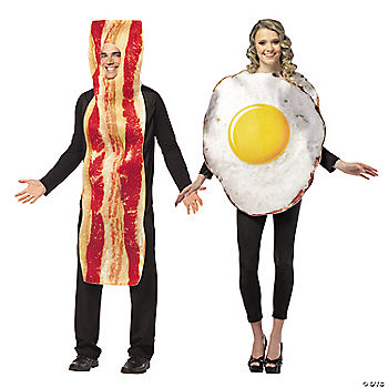 The women's costume is the only one included under this particular listing. The men's costume has to be purchased separately. Other accessories which are available for separate purchase for this particular Halloween costume include: the Black Cotton Gloves and the Rizzo Black Leggings. This Bacon & Eggs Couples costume is a great treat for those who like humorous outfits. It's simple, cute and a great idea 5/5(2).