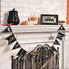 "Black & White ""Halloween"" Pennant Banner"