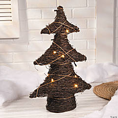 Lighted Rattan Christmas Tree