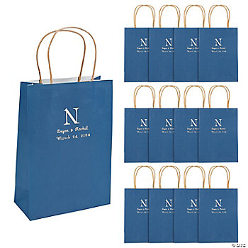 Personalized Monogram Navy Blue Kraft Paper Bags