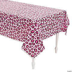 1st Birthday Pink Cheetah Print Tablecloth