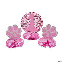 Cardboard 1st Birthday Cheetah Centerpiece Set