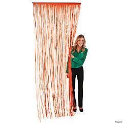 Orange Fringe Door Curtain