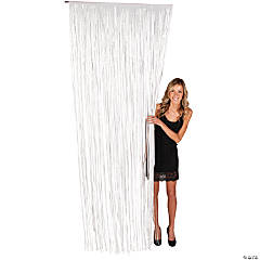 White Fringe Door Curtain