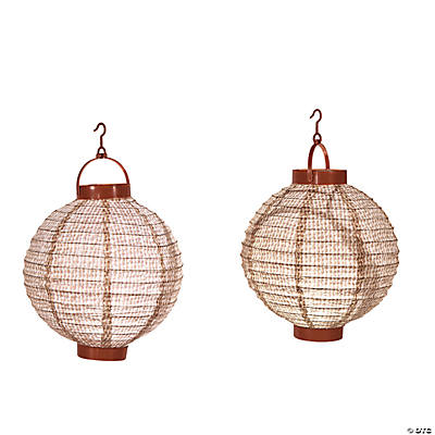 Burlap Look Light-Up Lanterns