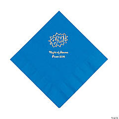 Blue Personalized Superhero Luncheon Napkins - Gold Print