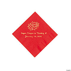 Red Personalized Superhero Beverage Napkins - Gold Print