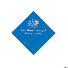 Blue Personalized Superhero Beverage Napkins - Gold Print