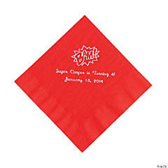 Red Personalized Superhero Luncheon Napkins - Silver Print