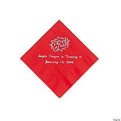 Red Personalized Superhero Beverage Napkins - Silver Print