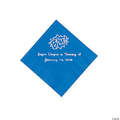 Blue Personalized Superhero Beverage Napkins - Silver Print
