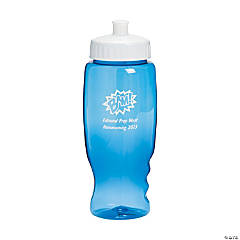 Transparent Blue Superhero Personalized Water Bottles - 27 oz.