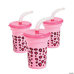1st Birthday Cheetah Cups with Lid & Straw