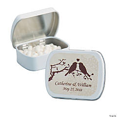 Personalized Silhouette Love Birds White Mint Tin
