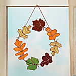Stained Glass Leaves Wreath