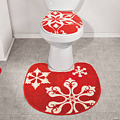 Holiday Snowflake Rug & Toilet Lid Cover Set