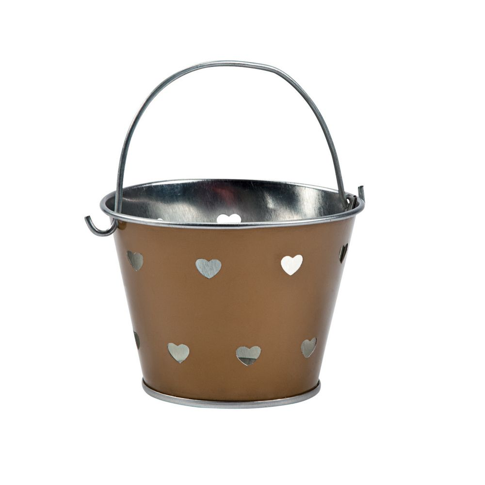 Gold Heart Metal Pails - Valentine's Day & Valentine's Day Boxes