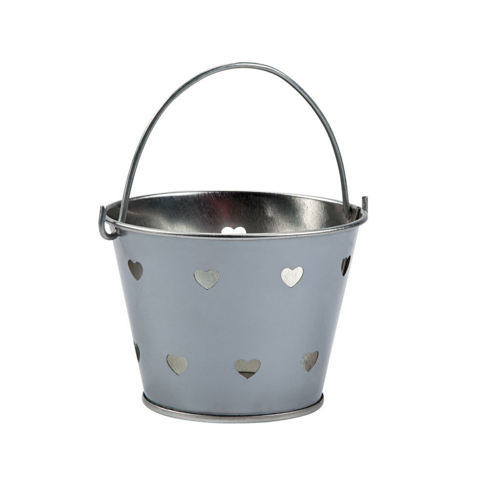 Silver Heart Metal Pails - Valentine's Day & Valentine's Day Boxes