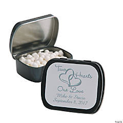 Personalized Two Hearts Black Mint Tins