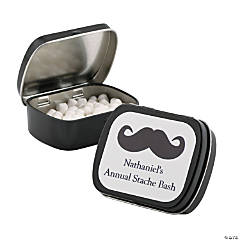 Personalized Black Mustache Mint Tins
