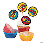 Superhero Cupcake Liners with Picks