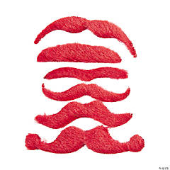 Synthetic Red Mustache Assortment