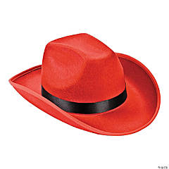 Polyester Adult's Red Cowboy Hat