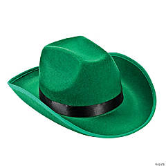 Polyester Adult's Green Cowboy Hat