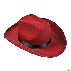 Polyester Adult's Burgundy Cowboy Hat