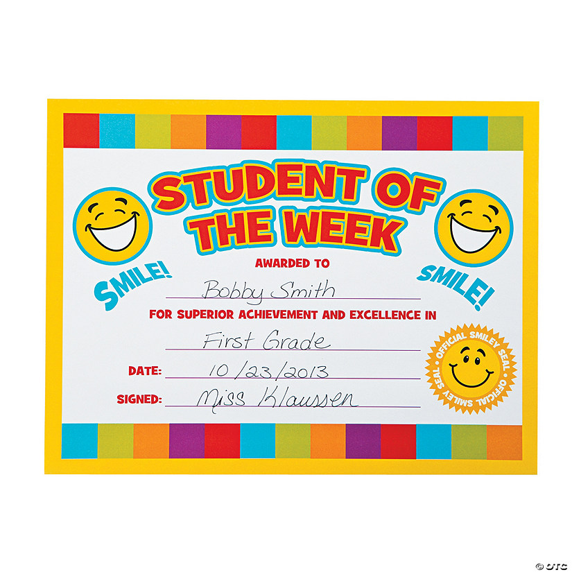 "Smile Face ""Student of the Week"" Certificates - Discontinued"