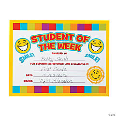 "Smile Face ""Student of the Week"" Certificates"