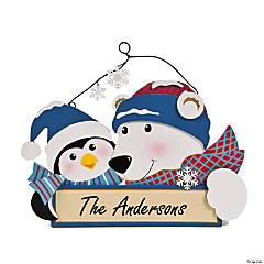 Personalized Polar Bear & Penguin Door Sign