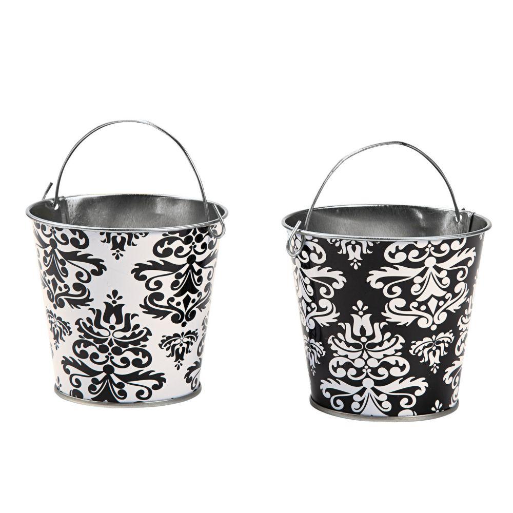 Black & White Pails - Party Decorations & Pails & Baskets