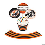 Black & Orange Cupcake Wrappers with Picks