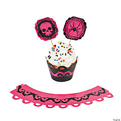 Paper Pink & Black Halloween Cupcake Wrappers with Picks